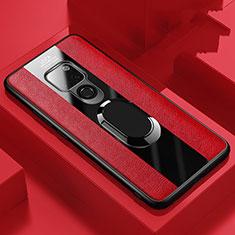 Huawei Mate 20用シリコンケース ソフトタッチラバー レザー柄 アンド指輪 マグネット式 T03 ファーウェイ レッド