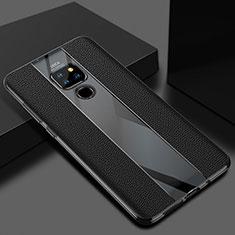 Huawei Mate 20用シリコンケース ソフトタッチラバー レザー柄 カバー H02 ファーウェイ ブラック