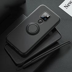 Huawei Mate 20用極薄ソフトケース シリコンケース 耐衝撃 全面保護 アンド指輪 マグネット式 バンパー T03 ファーウェイ ブラック