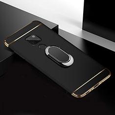 Huawei Mate 20用ケース 高級感 手触り良い メタル兼プラスチック バンパー アンド指輪 T01 ファーウェイ ブラック