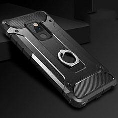 Huawei Mate 20用ハイブリットバンパーケース プラスチック アンド指輪 兼シリコーン カバー H01 ファーウェイ ブラック