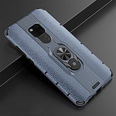 Huawei Mate 20用シリコンケース ソフトタッチラバー レザー柄 アンド指輪 マグネット式 T05 ファーウェイ ネイビー