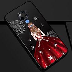 Huawei Mate 20用シリコンケース ソフトタッチラバー バタフライ ドレスガール ドレス少女 カバー K01 ファーウェイ レッド・ブラック