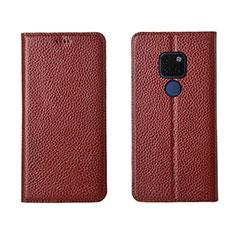 Huawei Mate 20用手帳型 レザーケース スタンド カバー T15 ファーウェイ ブラウン