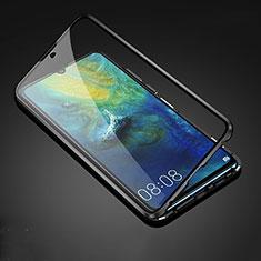 Huawei Mate 20用ケース 高級感 手触り良い アルミメタル 製の金属製 360度 フルカバーバンパー 鏡面 カバー T05 ファーウェイ ブラック