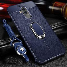 Huawei Mate 20 Lite用シリコンケース ソフトタッチラバー レザー柄 アンド指輪 マグネット式 T01 ファーウェイ ネイビー