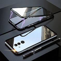 Huawei Mate 20 Lite用ケース 高級感 手触り良い アルミメタル 製の金属製 360度 フルカバーバンパー 鏡面 カバー T06 ファーウェイ ブラック