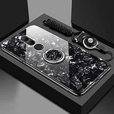 Huawei Mate 20 Lite用ハイブリットバンパーケース プラスチック 鏡面 カバー アンド指輪 マグネット式 T01 ファーウェイ ブラック