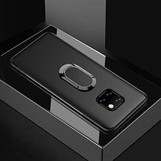 Huawei Mate 20 Pro用極薄ソフトケース シリコンケース 耐衝撃 全面保護 アンド指輪 マグネット式 バンパー ファーウェイ ブラック