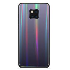 Huawei Mate 20 Pro用ハイブリットバンパーケース プラスチック 鏡面 虹 グラデーション 勾配色 カバー M02 ファーウェイ ブラック