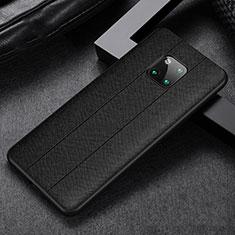Huawei Mate 20 Pro用シリコンケース ソフトタッチラバー レザー柄 カバー H03 ファーウェイ ブラック