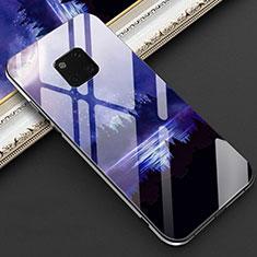 Huawei Mate 20 Pro用ハイブリットバンパーケース プラスチック パターン 鏡面 カバー K02 ファーウェイ ネイビー
