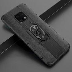 Huawei Mate 20 Pro用シリコンケース ソフトタッチラバー レザー柄 アンド指輪 マグネット式 T04 ファーウェイ ブラック