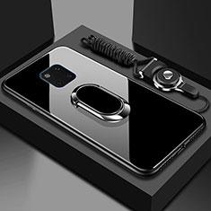 Huawei Mate 20 Pro用ハイブリットバンパーケース プラスチック 鏡面 カバー アンド指輪 マグネット式 T01 ファーウェイ ブラック