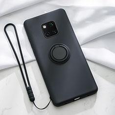 Huawei Mate 20 Pro用極薄ソフトケース シリコンケース 耐衝撃 全面保護 アンド指輪 マグネット式 バンパー T01 ファーウェイ ブラック