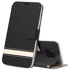 Huawei Mate 20 Pro用手帳型 レザーケース スタンド カバー T06 ファーウェイ ブラック