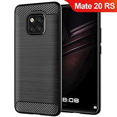 Huawei Mate 20 RS用シリコンケース ソフトタッチラバー ツイル ファーウェイ ブラック