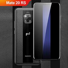 Huawei Mate 20 RS用シリコンケース ソフトタッチラバー レザー柄 Q01 ファーウェイ ブラック