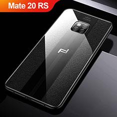 Huawei Mate 20 RS用シリコンケース ソフトタッチラバー レザー柄 W01 ファーウェイ ブラック