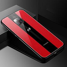 Huawei Mate 20 RS用シリコンケース ソフトタッチラバー レザー柄 S01 ファーウェイ レッド