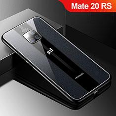 Huawei Mate 20 RS用シリコンケース ソフトタッチラバー レザー柄 S01 ファーウェイ ブラック
