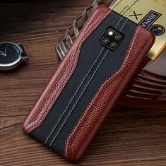 Huawei Mate 20 RS用ケース 高級感 手触り良いレザー柄 ファーウェイ ブラウン