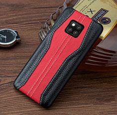 Huawei Mate 20 RS用ケース 高級感 手触り良いレザー柄 ファーウェイ レッド・ブラック