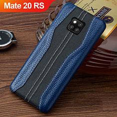Huawei Mate 20 RS用ケース 高級感 手触り良いレザー柄 ファーウェイ ネイビー・ブラック