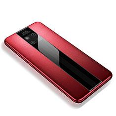 Huawei Mate 20 RS用シリコンケース ソフトタッチラバー レザー柄 ファーウェイ レッド