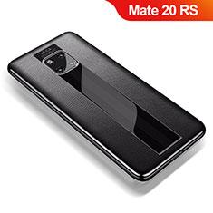 Huawei Mate 20 RS用シリコンケース ソフトタッチラバー レザー柄 ファーウェイ ブラック