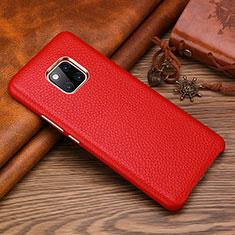 Huawei Mate 20 RS用ケース 高級感 手触り良いレザー柄 L01 ファーウェイ レッド