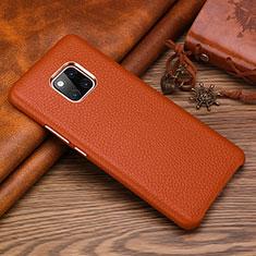 Huawei Mate 20 RS用ケース 高級感 手触り良いレザー柄 L01 ファーウェイ ブラウン