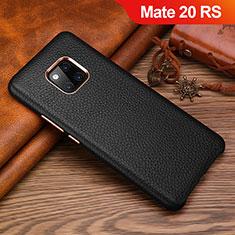 Huawei Mate 20 RS用ケース 高級感 手触り良いレザー柄 L01 ファーウェイ ブラック