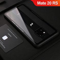 Huawei Mate 20 RS用シリコンケース ソフトタッチラバー レザー柄 S02 ファーウェイ ブラック