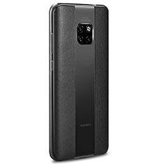 Huawei Mate 20 RS用シリコンケース ソフトタッチラバー レザー柄 カバー H01 ファーウェイ ブラック