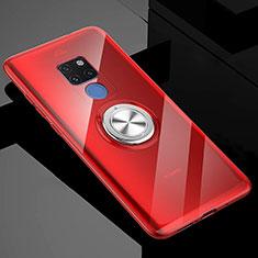 Huawei Mate 20 X 5G用極薄ソフトケース シリコンケース 耐衝撃 全面保護 クリア透明 アンド指輪 マグネット式 C04 ファーウェイ レッド