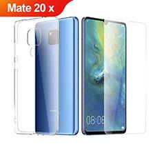 Huawei Mate 20 X 5G用極薄ソフトケース シリコンケース 耐衝撃 全面保護 クリア透明 アンド液晶保護フィルム ファーウェイ クリア