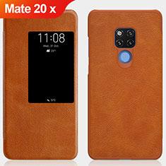 Huawei Mate 20 X 5G用手帳型 レザーケース スタンド ファーウェイ ブラウン