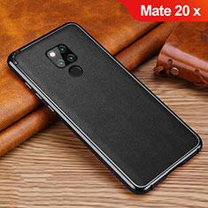 Huawei Mate 20 X 5G用シリコンケース ソフトタッチラバー レザー柄 ファーウェイ ブラック