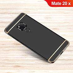 Huawei Mate 20 X 5G用ケース 高級感 手触り良い メタル兼プラスチック バンパー M01 ファーウェイ ブラック