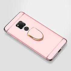 Huawei Mate 20 X 5G用ケース 高級感 手触り良い メタル兼プラスチック バンパー アンド指輪 A01 ファーウェイ ローズゴールド