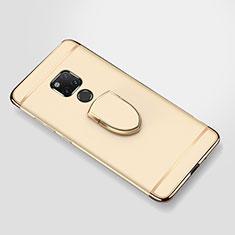 Huawei Mate 20 X 5G用ケース 高級感 手触り良い メタル兼プラスチック バンパー アンド指輪 A01 ファーウェイ ゴールド