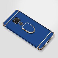 Huawei Mate 20 X 5G用ケース 高級感 手触り良い メタル兼プラスチック バンパー アンド指輪 A01 ファーウェイ ネイビー