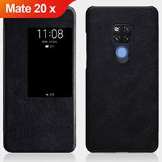 Huawei Mate 20 X用手帳型 レザーケース スタンド ファーウェイ ブラック
