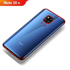 Huawei Mate 20 X用極薄ソフトケース シリコンケース 耐衝撃 全面保護 クリア透明 T07 ファーウェイ レッド