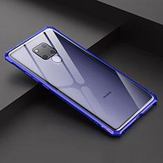 Huawei Mate 20 X用ケース 高級感 手触り良い アルミメタル 製の金属製 バンパー 鏡面 カバー ファーウェイ ネイビー