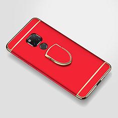Huawei Mate 20 X用ケース 高級感 手触り良い メタル兼プラスチック バンパー アンド指輪 A01 ファーウェイ レッド