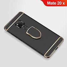 Huawei Mate 20 X用ケース 高級感 手触り良い メタル兼プラスチック バンパー アンド指輪 A01 ファーウェイ ブラック