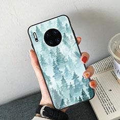 Huawei Mate 30 5G用ハイブリットバンパーケース プラスチック パターン 鏡面 カバー S02 ファーウェイ ブルー