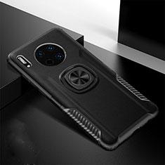 Huawei Mate 30 5G用シリコンケース ソフトタッチラバー レザー柄 アンド指輪 マグネット式 T01 ファーウェイ ブラック